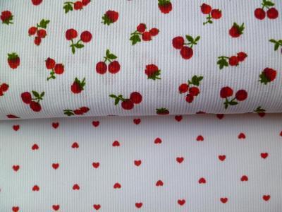 Tissu Piqué de Coton Coupon Fruits Rouges ou Coeurs 50x75cm