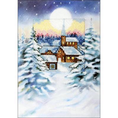 Kit Carte en couleur à broder 'Village sous la neige' ORCHIDEA 6233