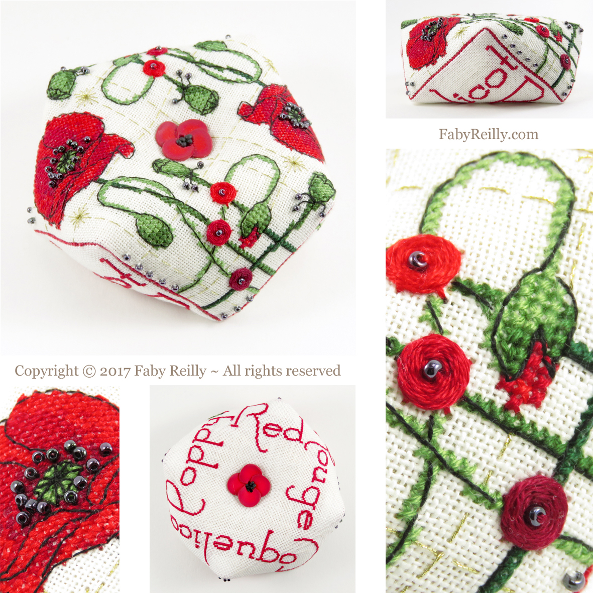 Poppy biscornu faby reilly designs