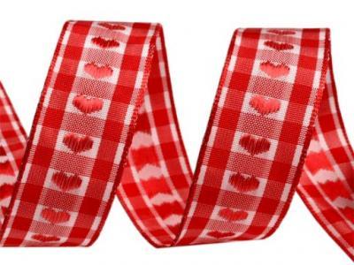 Ruban Vichy Beige avec Coeur Rouge 25mm
