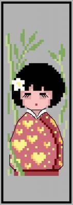 Marque page 'Kokeshi bambou' N° 909 Au Fil de Martine