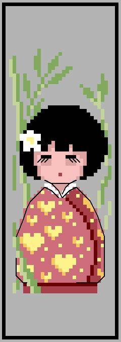 Marque page 'Kokeshi bambou' N° 909