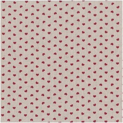 Tissus Patchwork Stof Lin Shabby Chic Coeurs Rouges ST18-104