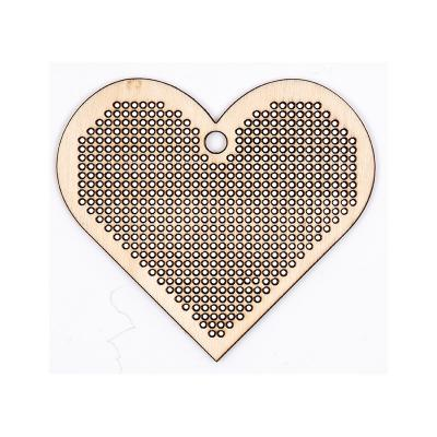 Etiquette Pendentif Coeur en bois à broder