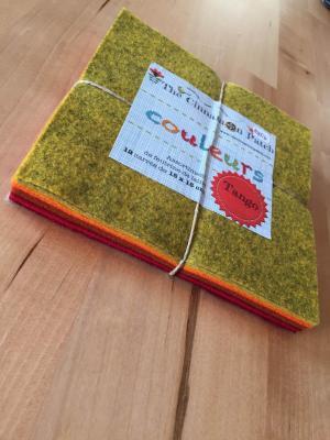 Assortiment de feutrine de laine 12 carrés de 15 x 15 cm TANGO