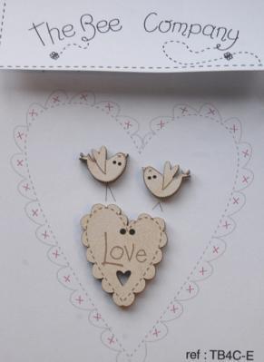 """Coeur """"love"""" et oiseaux écrus TB4CE The Bee Company"""