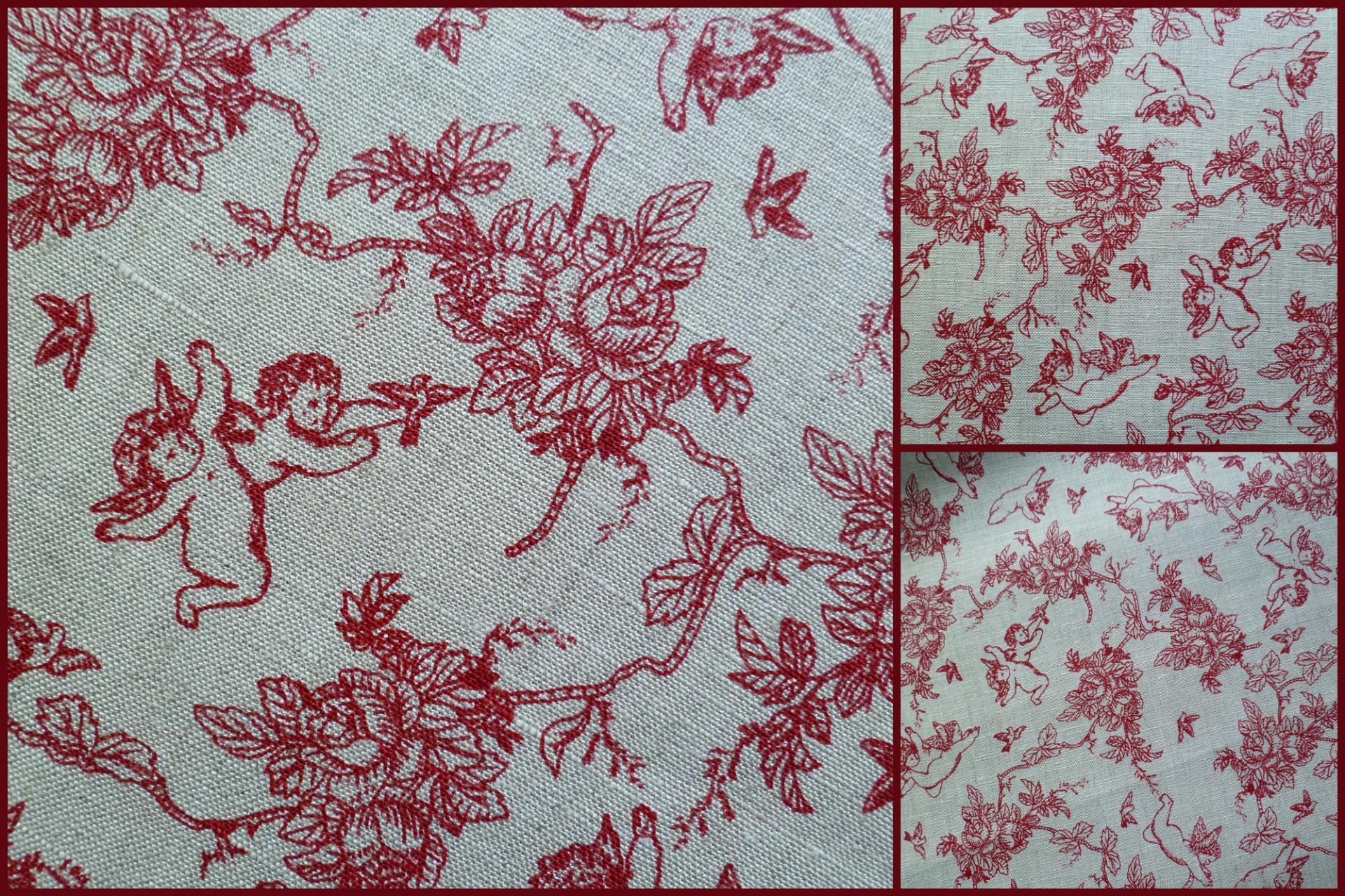 Tissu ange rouge en lin