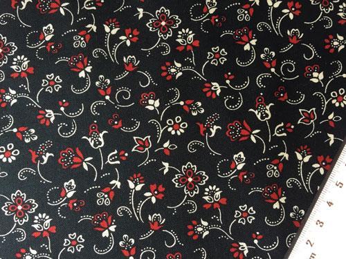 Tissu Patchwork Fleurs Fond Noir