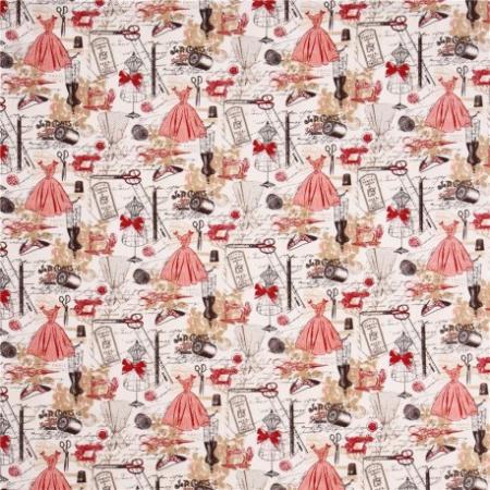 Tissu mode rouge paris c2329 3