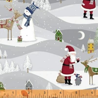 Tissu Patchwork Moda Père-Noël avec Renne sur fond gris