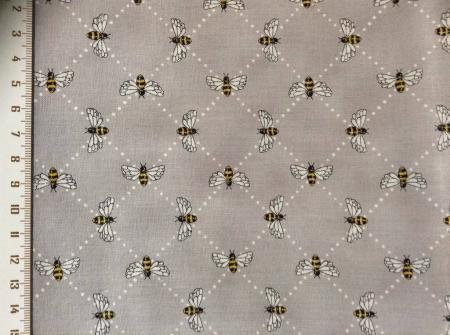 Tissu patch abeilles sur fond gris 3
