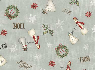 Tissu red rooster christmas whimsy 25208 gry 1