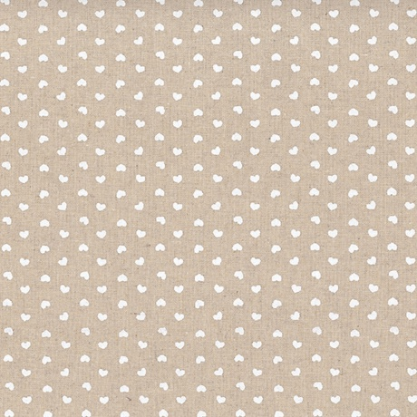 Tissus patchwork stof lin shabby chic coeurs blanc st18 132