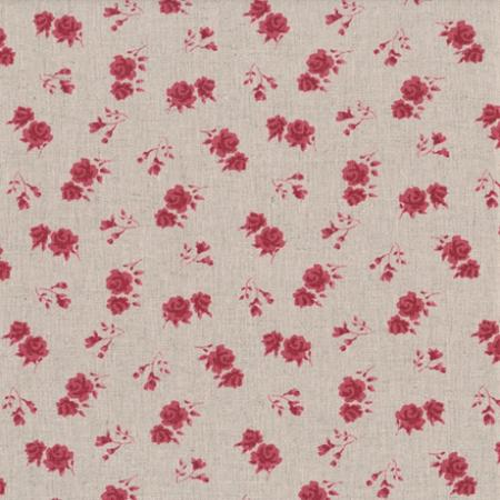 Tissus patchwork stof lin shabby chic fleurs rouges st18 117