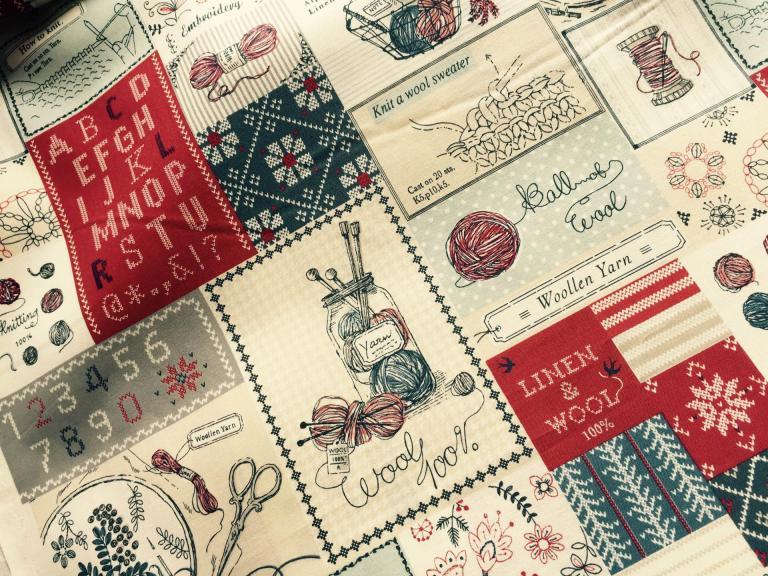 Tissu Yuwa Coton Patchwork Rouge
