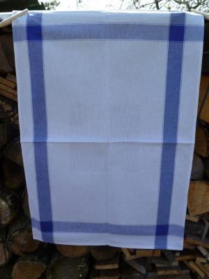 Torchon à l'ancienne Ecru à Rayures Bleues