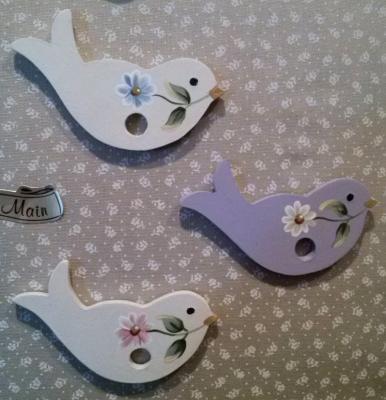 Oiseau Parme, Marguerite bleu ou rose