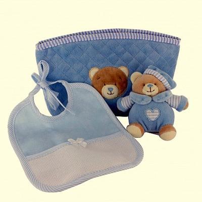 Boîte cadeau Bleu : Trousse, doudou et bavoir