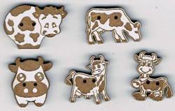 Lot de 5 Boutons Laqué Blanc Vaches