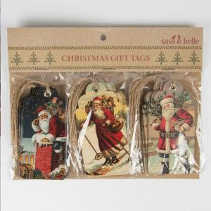 Vintage xmas tags christmas scene gift tags retro vintage style x 15 santa clause 41557 p 1