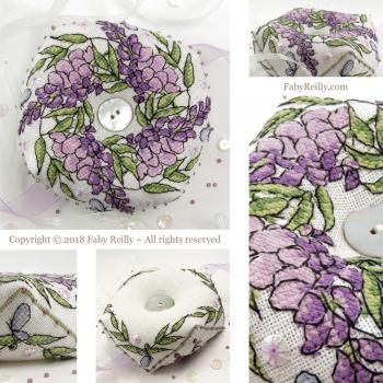 Wisteria biscornu faby reilly designs
