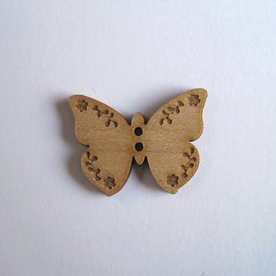 Bouton bois Papillon Gravé BLF016