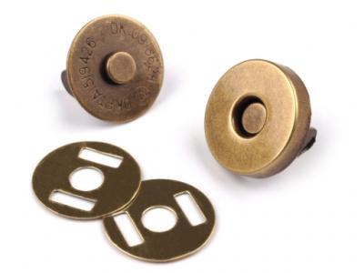 Lot de 2 Fermoirs Magnétiques en Métal Laiton Vielli Diamètre 14 mm