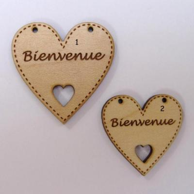 Bouton Bois Coeur Bienvenue BLC013-BLC014  Au P'tit Bonheur