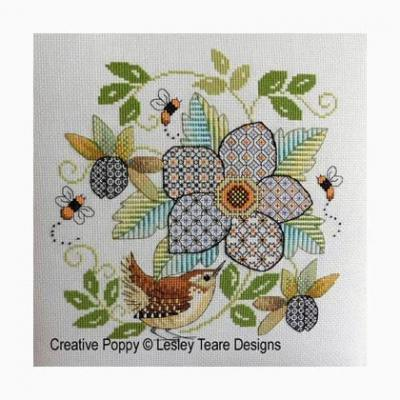 Blackwork Flower with wren 'Fleur et Roitelet Lesley Teare