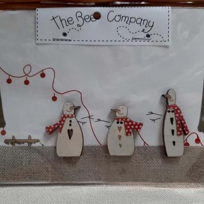 3 bonhommes de neige & lin TBN22 The Bee Company