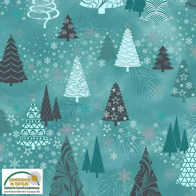 Tissu Patchwork It's Snowflake MS20-02Turq