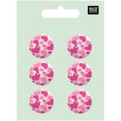 Pack de 6 Boutons Plastiques Coeurs Rose Ø 23mm Rico Design