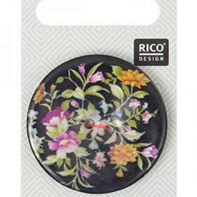 Bouton coco Floral Noir Rico Design 500060.517