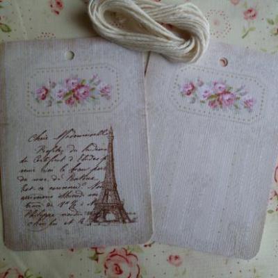 Lot de 2 Etiquettes Messages Tour Eiffel