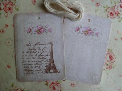Lot de 2 Etiquettes Messages Tour Eiffel