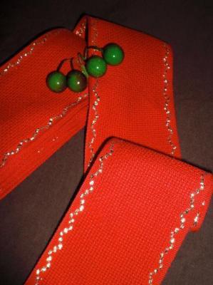 Bande 50 cm  Aïda 5.5 Rouge avec Liseré Or largeur 7cm
