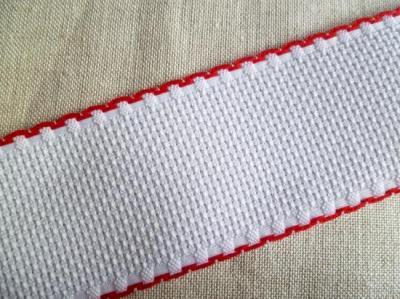 Bande Aïda Blanche 5.5 Liseré Rouge 5 cm