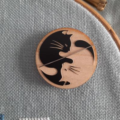 Aimant Porte Aiguilles 'Yin Yang Chat Noir'