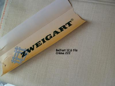 Toile à Broder Zweigart  de Lin Belfast 12,6 Fils Crème 222