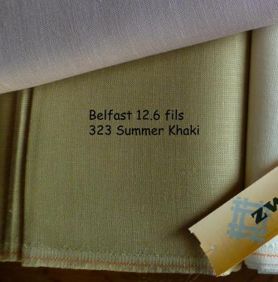 Toile à Broder Zweigart de Lin Belfast 12,6 Fils Summer Kaki 323
