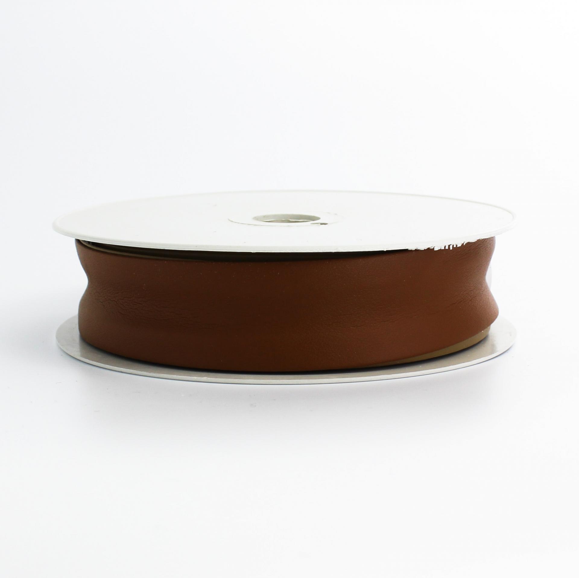 Biais simili cuir marron fonce