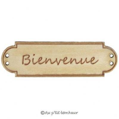 Bouton Bois Bienvenue BLD006  Au P'tit Bonheur