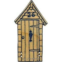 Bouton cabine de plage gravure bleu marine BLG022-374