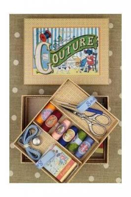 Boîte à couture complète petit modèle motif Coquecigrues Sajou