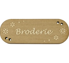 Bouton bois broderie fleurs blanches ref bld808