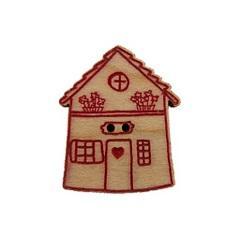 Bouton Maison de village avec fleurs rouge BLA029-287  Au P'tit Bonheur