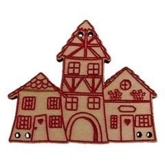 Bouton Maisons alsaciennes rouges BLA032-287  Au P'tit Bonheur
