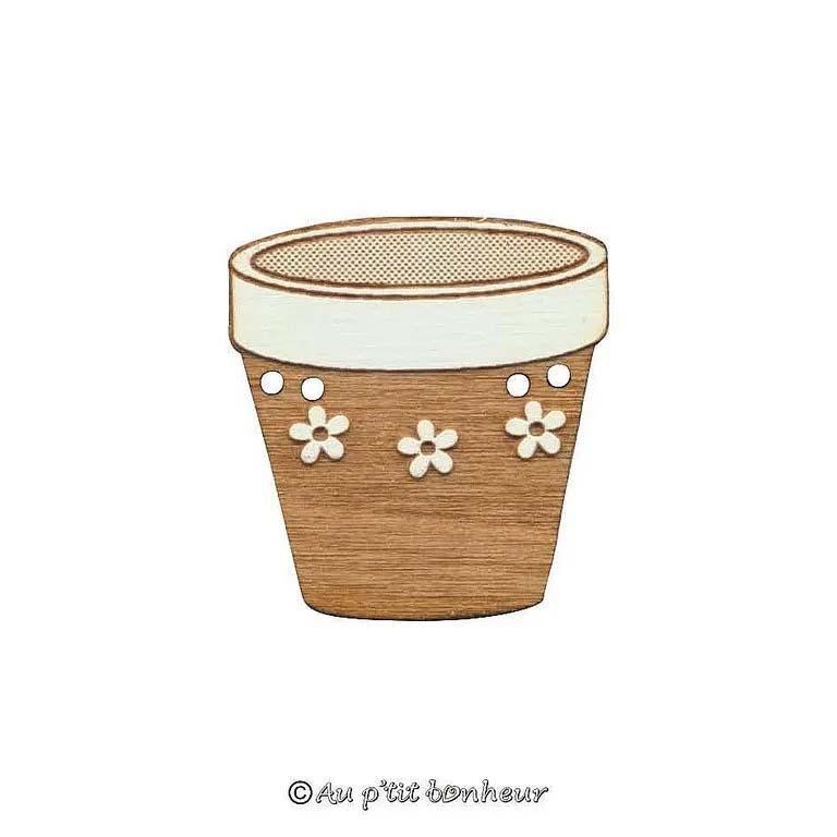 Bouton bois pot de fleurs a fleurs blfa165 160