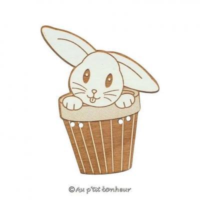 Bouton lapin dans pot 31mm Oreille Couchée BLEA122-160