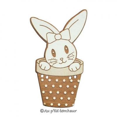 Bouton lapin dans pot 31mm Oreille Droite BLEA121-160